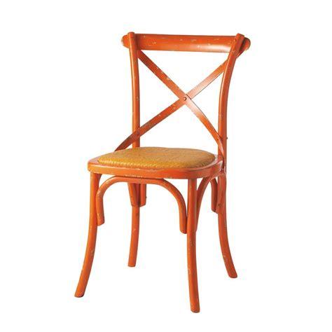 chaise en rotin naturel et bois massif orange tradition maisons du monde