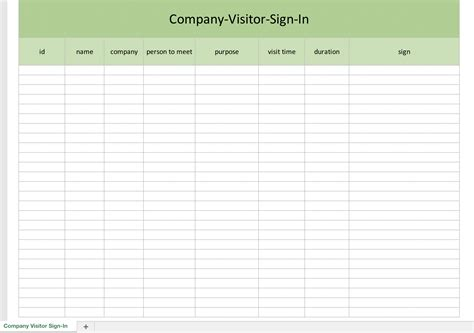 company sign template company visitor sign in list excel templates for every