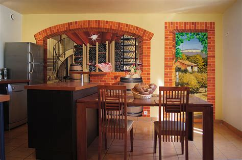 cuisine vin fresques murales peintures trompe l oeil décorative