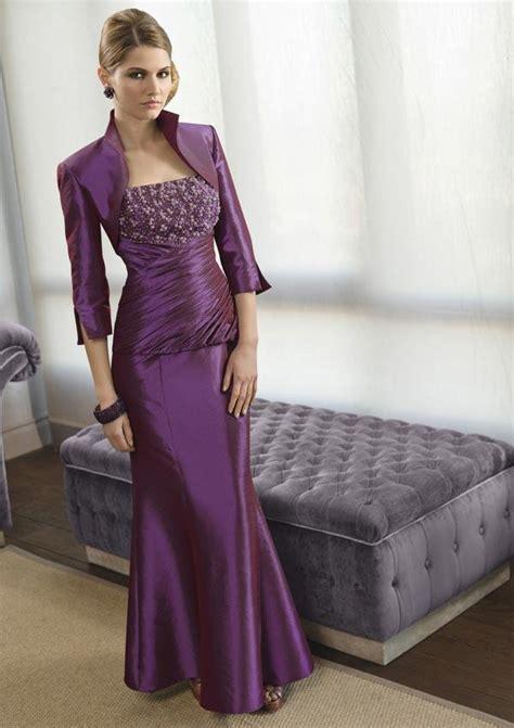 plum full length beaded sheath sleeves mother   bride dress zoombridalcom prlog