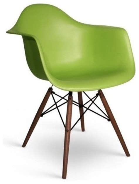 eames style daw molded lime green plastic dining armchair