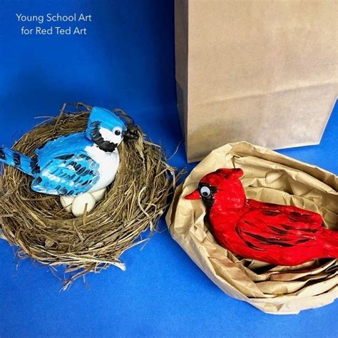 air drying clay birds  kids red ted art
