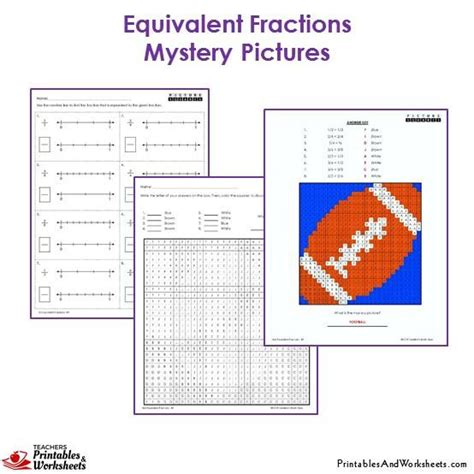 3rd grade equivalent fractions mystery pictures coloring worksheets printables worksheets