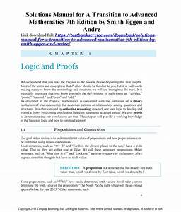 Solutions Manual For A Transition To Advanced Mathematics