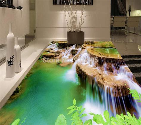 custom  floor murals spa waterfall  stereo pvc floor