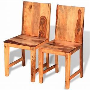 Chaise En Bois Massif : acheter vidaxl chaises de salle manger en bois de sheesham massif 2 pi ces pas cher ~ Teatrodelosmanantiales.com Idées de Décoration