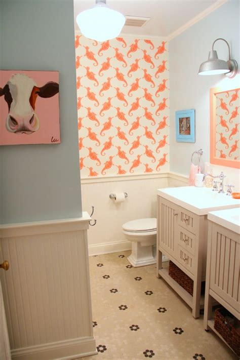blue and coral bathroom the kids bathroom makeover reveal