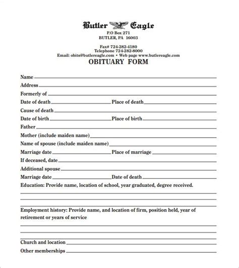 Free Resume Program by Printable Obituary Template Funeral Obituary Template