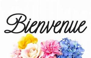 Bienvenue Script Welcome Metal Sign Black 22x5 5 French