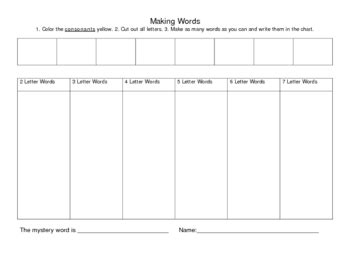 Making Words Cut Out Worksheets By Varkgirl  Teachers Pay Teachers