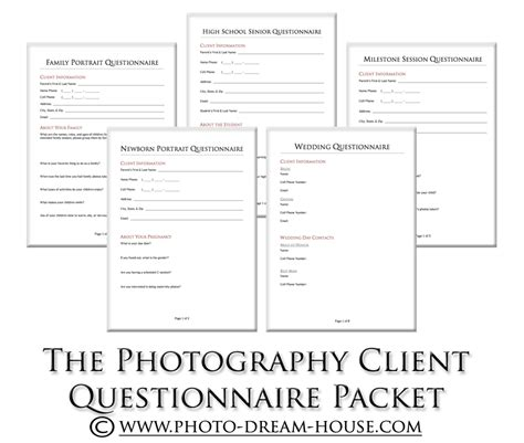 photography client questionnaire packet photographers