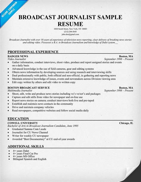 Free Journalist Resume Templates by Sle Resume For Journalist Sle Resume
