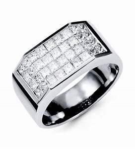 18k white gold mens hot stylish princess diamond ring for Mens wedding rings with diamonds white gold