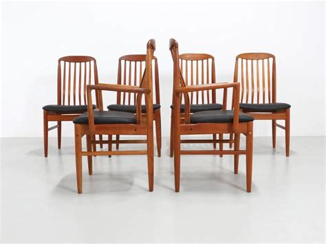 six modern teak dining chairs by benny linden for