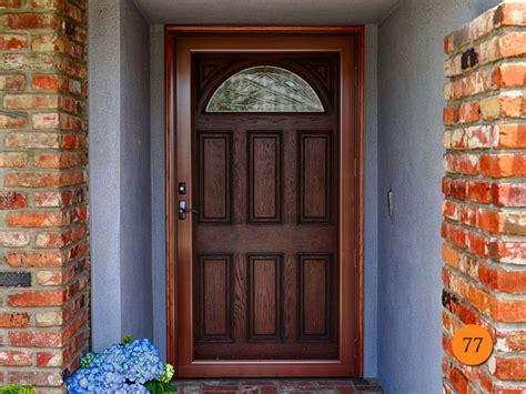 traditional  panel    wide front entry door jeld wen aurora  fiberglass oak