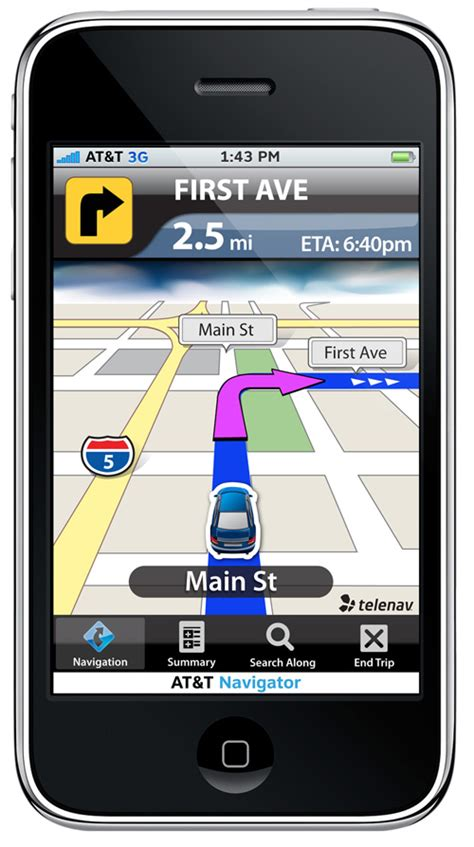iphone tracking app telenav iphone gps navigation app from at t navigadget