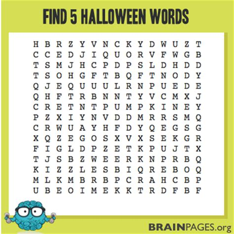Hard Halloween Brain Teasers by Halloween Word Search Brain Teasers And Games