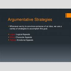 Argumentative Strategies Ethos, Pathos, Logos