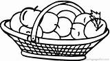 Clipart Basket Apple Coloring Clipartion sketch template