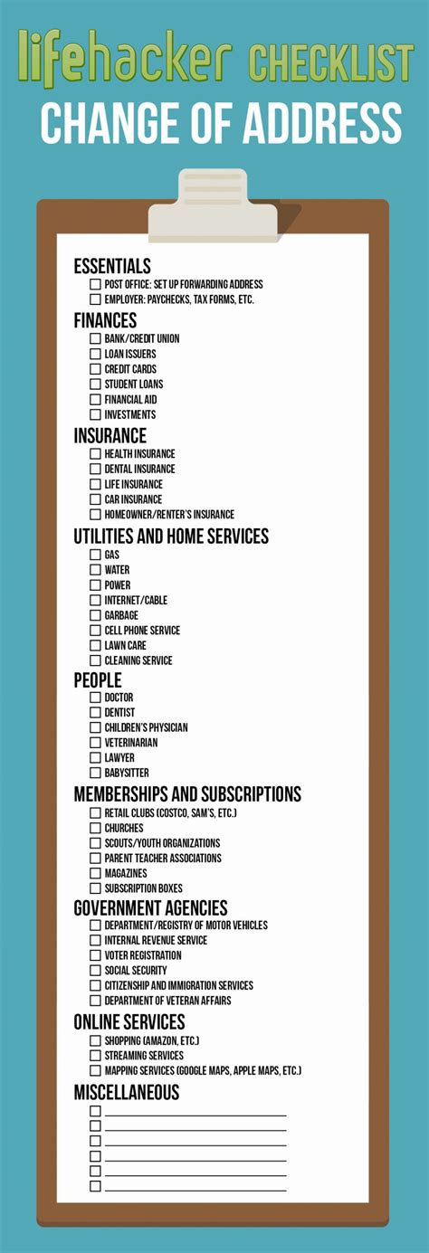 change of address you guide to changing your address checklist daily infographic