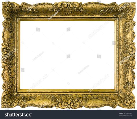 Old Gilded Golden Wooden Frame Isolated Stock Photo