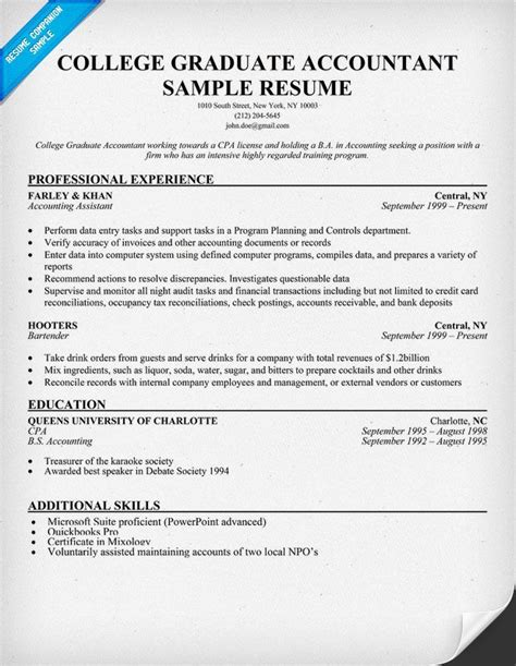 Resume For College Graduate by College Graduate Accountant Resume Sle Resume Sles