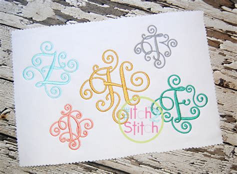 small elegant scroll monogram  color  itch  stitch
