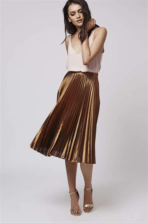 Topshop Foil Pleated Midi Skirt In Metallic Lyst
