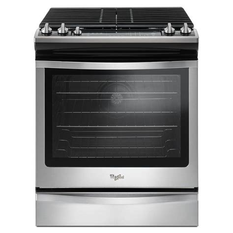 shop whirlpool 5 burner 5 8 cu ft slide in convection gas range stainless steel common 30 in