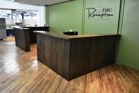 reclaimed wood reception desk custom reclaimed wood reception desk in kitchener office 4536