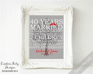 40th wedding anniversary gift 40th anniversary print With gift for 40th wedding anniversary