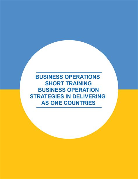 business operations short training strategic operations