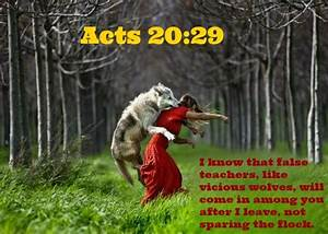 Acts 20:29 I know that false teachers, like vicious wolves