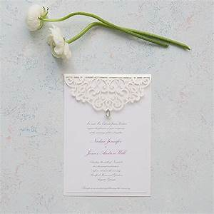 pearl romance laser embossed invitations with With embossed wedding invitations canada