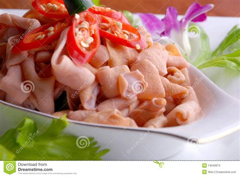 delicious cuisine china delicious food chili fried duck intestine stock