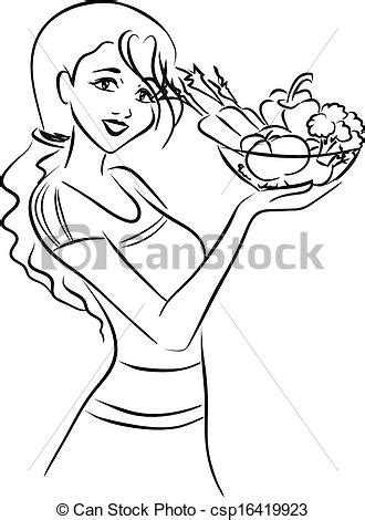 Woman and healthy dish with vegetables. The slender