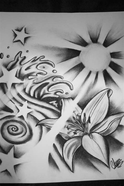 Tribal flower waves | Star tattoos, Sun tattoos, Star
