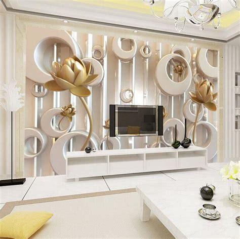 3D photo wallpaper Golden Lotus living room TV wall