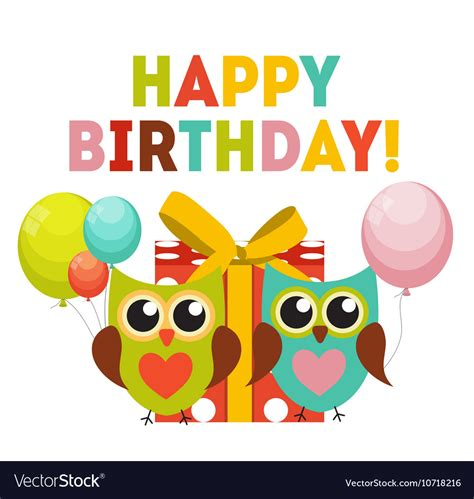 Happy Birthday Owl Images Owl Happy Birthday Background With Gift Box Vector