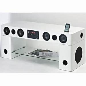 meuble tv home cinema integre watts blanc achat With meuble tv avec home cinema integre
