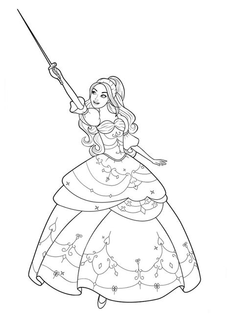 barbie    musketeers coloring pages    print