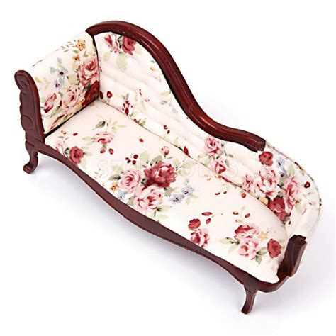 Floral Settee by Dollhouse Miniature Wood Floral Upholstered