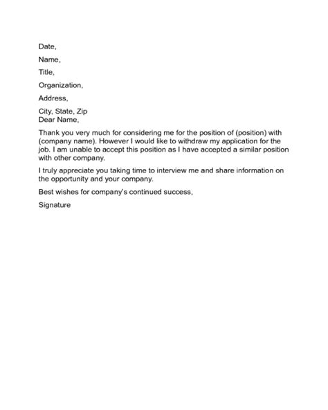 Letter to Withdraw from a Job Offer Sample - Edit, Fill, Sign Online | Handypdf