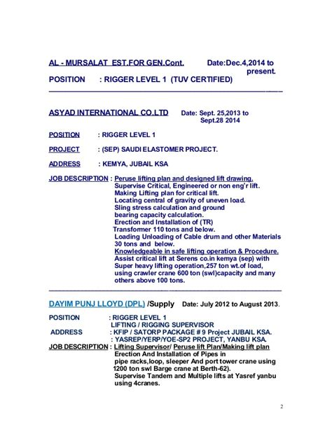 Rigging Resume Format by Bruno B Ambito Resume New Update Doc