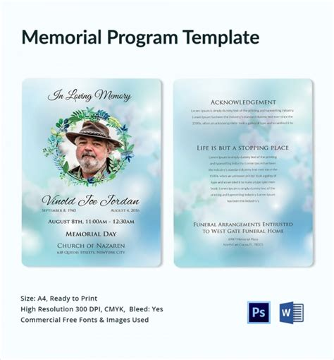 memorial templates 12 sle memorial program templates sle templates