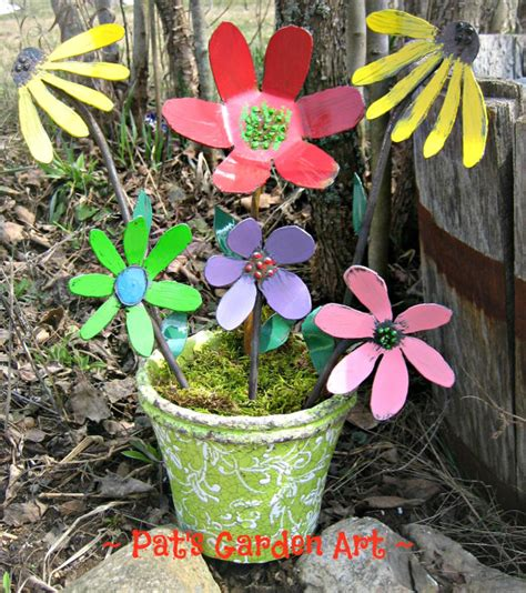 shabby chic painted metal garden flowers set of 6