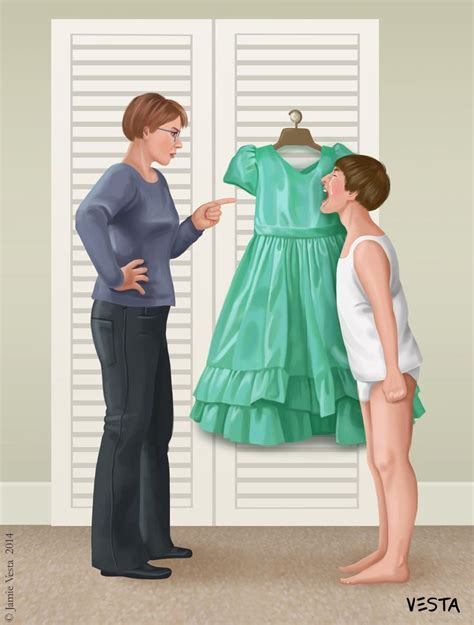 unhappy boy mummy i don t want to wear a dress don t be silly all the