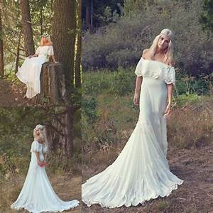 Bohemian wedding dresses cream ivory off the shoulder lace for Bohemian beach style wedding dresses