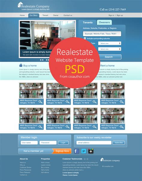 real estate website template psd for free download