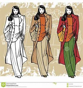Fashion Girl In Coat. Sketch Style. Grunge Stock Vector ...